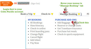 Cebu Pacific – How to Add Baggage Allowance or Upgrade Prepaid Baggage Service