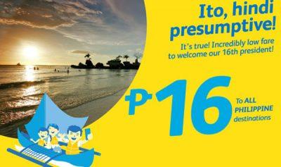 16 PESOS ALL PHILIPPINE DESTINATIONS PROMO 2017 of Cebu Pacific
