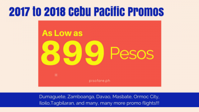 Cebu Pacific Promos 2017 to 2018: Dumaguete, Masbate, Bohol, Davao, and many many more