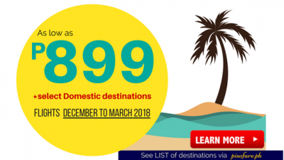 Cebu Pacific Promo December 2017 up to March 2018
