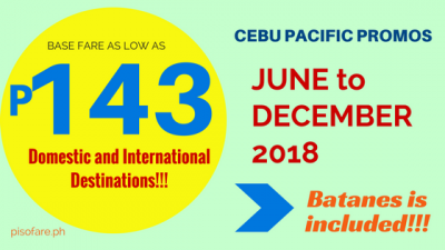 Cebu Pacific Air 143 Pesos Promo Fare ALL Domestic and International