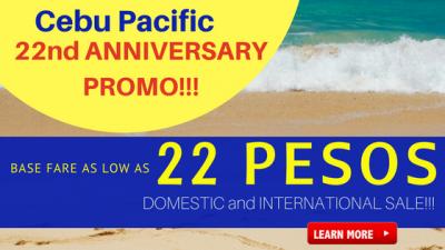 Cebu Pacific 22 Anniversary Promo Fare: 22 Pesos Base Fare Sale