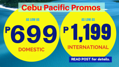 Cebu Pacific Promo Tickets November, December up to January, February, March 2019