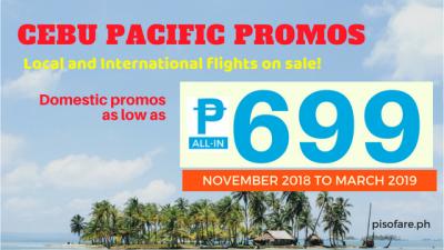 2018 to 2019 Cebu Pacific Air Promo Fare Details