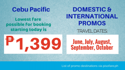 Promo Tickets for June, July, August, September, October 2018 via CEBU PACIFIC