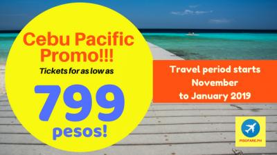Cebu Pacific Tickets Promo for Travel November, December, January 2019