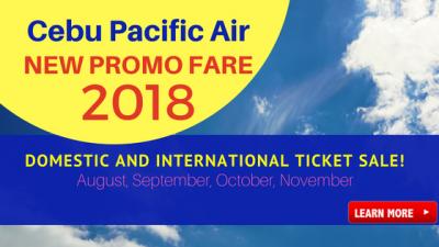 Cebu Pacific Air Promo 2018: August, September, October, November
