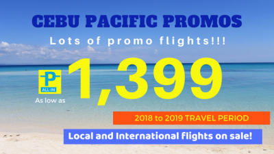 Cebu Pacific Promo Fare from October 2018 to March 2019 for Domestic and International