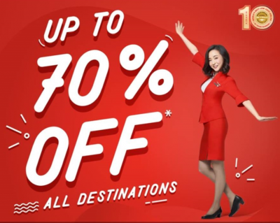 Up to 70% OFF on Air Asia Promo Fare Tickets 2018 to 2019