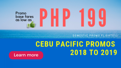 Book One Way or Round Trip for Cebu Pacific Promo Fare up to 2019