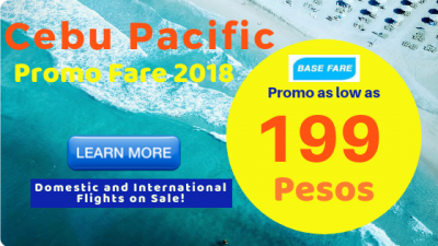 Low Base Fares for Cebu Pacific Promo Fare Tickets 2018 to 2019